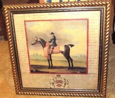 """WONDERFUL DECORATIVE PICTURE OF """"MOORCOCK"""" FAMOUS HORSE WITH RIDER-NICE FRAME"""