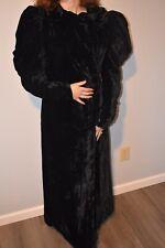 Vintage Black Velvet Opera Coat Silk Lining 1920s 1930s Puff Sleeves