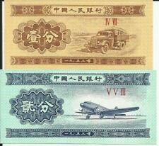 China: Peoplesbank of China UNC biljet. 1 en 2 Fen. UNC