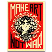 Make Art Not War Art Silk Poster Vintage Canvas Print 13x20 24x36 inch
