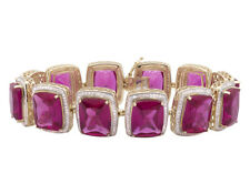 10k Yellow Gold Royal Created Ruby GEMSTONE Real Diamond 7.5 Inch Bracelet 5.5ct