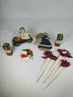 Lot Of Christmas Ornaments Mice Mouse JOY Icicles Wood Country