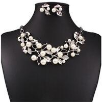 Women Pearl Jewelry Pendant Chain Crystal Choker Chunky Bib Statement Necklace