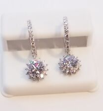 """925 STERLING SILVER 3 CARAT TW CZ 5/8""""  HUGGIE HOOP WITH ROUND HALO DROP EARRING"""