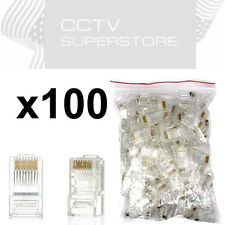 100 pcs RJ45 Network Modular Plug Cat5 CAT5e Connector Clear 8p8c Gold Plated