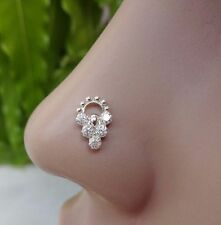 Indian Nose Ring Nose Piercing 925 Sterling Silver Studs Flower Nose Pin Vintage