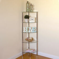 Hartleys 5 Tier Clear Glass Side Corner Shelf/Display Unit Lounge/Hall/Bathroom