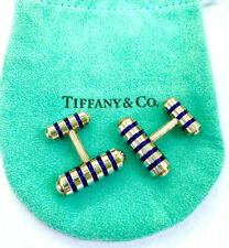 Tiffany & Co Paloma Picasso Sterling Silver Cobalt Blue Enamel Cuff Links