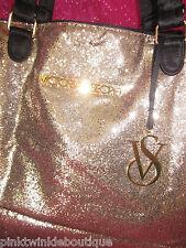 Victoria's Secret Tote Bag Large Gold Handbag Fantasy Beach Purse Sparkle NWT