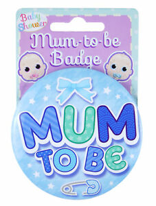Blue Mum To Be Badge - Baby Shower Party Mom Boy Dress Up Pin Metal Game Lapel