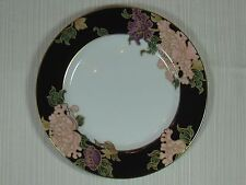 Fitz and Floyd 1979 Cloisonne Peony Salad Plate Black Rim Gold Trim and Outlines