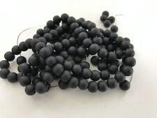 Glasperlen 130 Stück 6 mm schwarz matt gefrostet Optik Perlen Schmuck 110