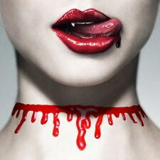 Halsband Blut Kehle aufgeschlitzer Hals Halskette Choker Gothic Neu Helloween