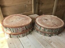 "4 Rustic logs approx 9"" (23cm) wedding / table centerpieces, cake stands"