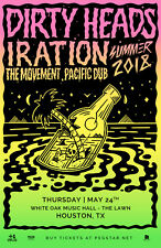"DIRTY HEADS / IRATION / THE MOVEMENT ""SUMMER 2018"" HOUSTON CONCERT TOUR POSTER"