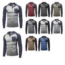 FashionOutfit Men's Casual Raglan Long Sleeves Chest Pocket Hooded Shirt Top