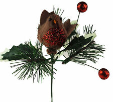 3 x Artificial Berry Robin Christmas Pick - Holly Branch Decoration Arrangements