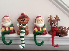 4 Vintage Hong Kong Plastic Christmas Stocking Hanger Hook Holders