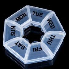 7 Day Heptagon Pill Box week daily medicine storage tablet dispenser orgainiser
