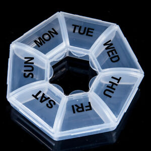 7 Day Heptagon Pill Box week daily medicine storage tablet dispenser organiser