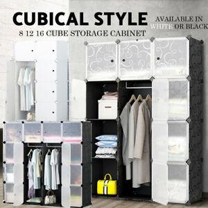 DIY XL 8 12 16 Cube Storage Cabinet Compartment Wardrobe Rack Shelf Portable