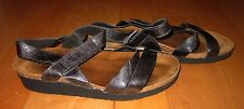 NAOT Wms Charcoal Gray Leather Strap Sandals 38 US 7.5