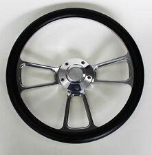 "1964-66 Chevy II 2 Nova Impala Black Billet Steering Wheel 14"" Chevy Bowtie Cap"