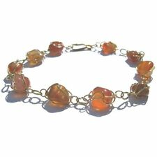 CARNELIAN RAW GEM STONE GOLD COLOURED  BRACELET CHAIN BANGLE CAGE STYLE