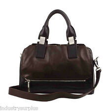 """Walter by Walter Baker """"Scuderia"""" Black / Chocolate Leather Satchel $248"""