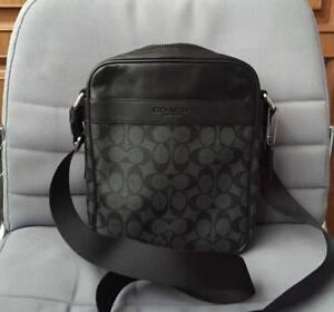 Coach Signature Men's Charles Flight Bag in Charcoal/Black