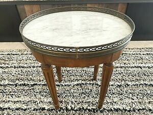 Marble Top Oval Accent Side Table by DANBY with Brass Gallery LOUIS XVl style