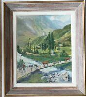 MONTAGNE Troupeau sur le Pont Huile Original Signé CAMES circa 1950 Cadre 54x43