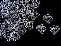 20 Pcs - 13mm Tibetan Silver Filigree Heart Pendants Charms Jewellery Craft J155