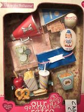 """AG Our Generation OUT TO THE BALL GAME Baseball Snack Food Playset 18"""" Girl Doll"""