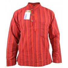 Men's Stonewashed Grandad OM Comfy Casual Long Sleeve Hippie Boho Shirts Tops Red 5xl