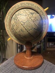 Vintage Astrological Nautical Globe with Wooden Base Desk Top Tabletop Decor