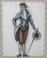 Watercolor Drawing Costume Theatre Noble 1st Empire Consulate B. Duquesnoy