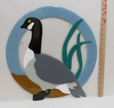 Fused Glass Round Wall Hanging with Canadian Goose Bird Image