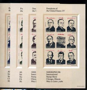 2216-2219 AMERIPEX 86 SOUVENIR SHEETS (4) PRESIDENTS SET MINT SUPERB-NH