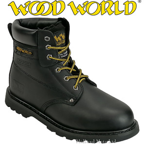 WoodWorld Steel Toe Cap Safety Black Leather Boots WW2
