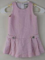 Baby Girl Size 24M Cherokee Pink & White Houndstooth Print Sleeveless Dress