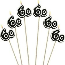 60th Happy Birthday Party Decoration Cake Candles on a Stick 6 Pieces