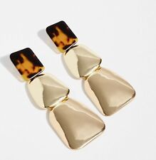 """Free People Clip On Hanging Earrings Faux Tortoise Gold 3 Layer 4"""" Long NWT"""
