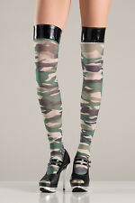 BW-750 Sexy Gogo Dancer Outfit Camouflage Thigh High Stockings Halloween Hosiery