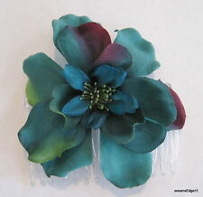Teal Blue,Purple,Green Apple Blossom Silk Flower Hair Comb,Pinup,Updo,Bridal