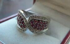 Attractive 9ct White Gold , Ruby & Diamond Twist Ring c.1990/2000s  -  size P