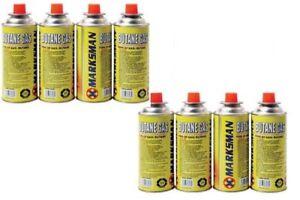 Marksman Marks 8 Butane Gas Bottles Canister Camping Heater Cooker BBQ Flammable