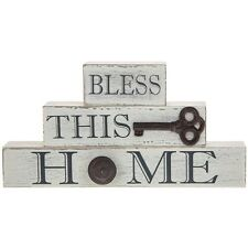 bless this home wooden freestanding plaque homeware gift present shabby chic