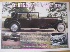 WO BENTLEY 8 LITRE 1930 GEORGE E DODDS CARS 1996 ADVERT APPROX A4 SIZE FILE Q