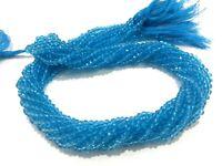 "5-50 Strand Sky Blue Topaz Quartz Rondelle Faceted 3-4mm Hydro Beads 13""inch"